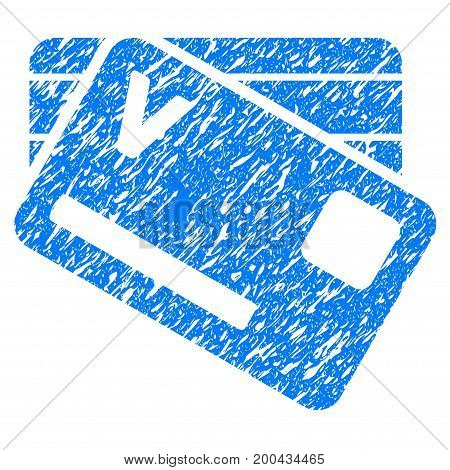 Grunge Banking Cards icon with grunge design and scratched texture. Unclean vector blue pictogram for rubber seal stamp imitations and watermarks. Draft sticker symbol.