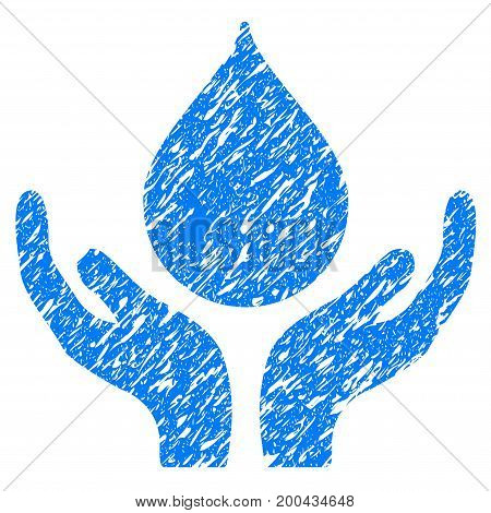 Grunge Blood Donation icon with grunge design and dirty texture. Unclean vector blue pictogram for rubber seal stamp imitations and watermarks. Draft sticker symbol.