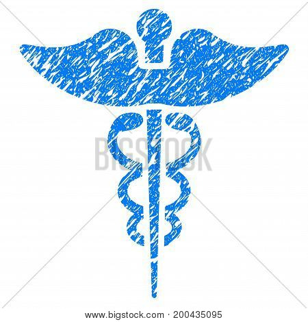 Grunge Caduceus icon with grunge design and scratched texture. Unclean vector blue pictogram for rubber seal stamp imitations and watermarks. Draft emblem symbol.