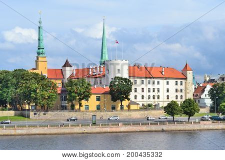 Riga Latvia. View of the Old Town embankment in a summer day