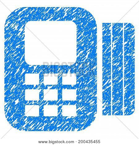 Grunge Card Processor icon with grunge design and scratched texture. Unclean vector blue pictogram for rubber seal stamp imitations and watermarks. Draft sticker symbol.