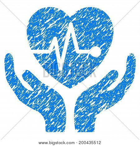 Grunge Cardiology icon with grunge design and scratched texture. Unclean vector blue pictogram for rubber seal stamp imitations and watermarks. Draft sign symbol.
