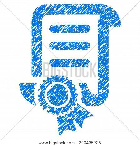 Grunge Certified Scroll Document icon with grunge design and dirty texture. Unclean vector blue pictogram for rubber seal stamp imitations and watermarks. Draft emblem symbol.