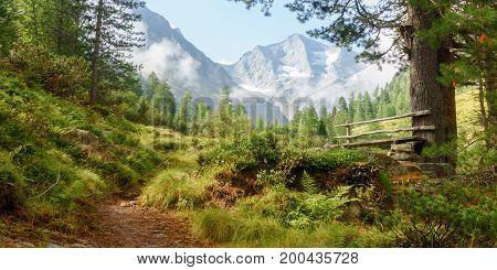 Rastpaltz in den tiroler Alpen mit Gletscher im Hintergrund als Panorama