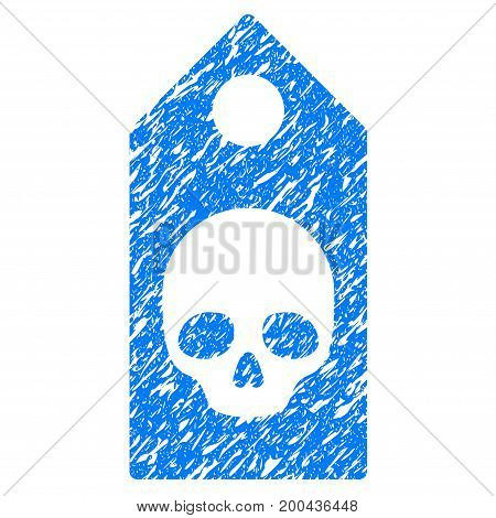 Grunge Death Coupon icon with grunge design and dust texture. Unclean vector blue pictogram for rubber seal stamp imitations and watermarks. Draft emblem symbol.