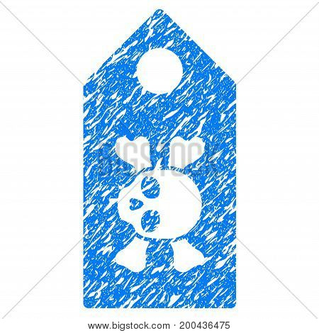Grunge Death Label icon with grunge design and dirty texture. Unclean vector blue pictogram for rubber seal stamp imitations and watermarks. Draft sticker symbol.