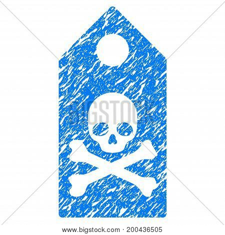 Grunge Death Mark icon with grunge design and dirty texture. Unclean vector blue pictogram for rubber seal stamp imitations and watermarks. Draft emblem symbol.