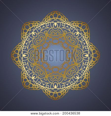 Vector vintage Mandala sign frame. Vintage decorative elements. Oriental pattern, vector illustration. Islam, Arabic, Indian, turkish, pakistan, chinese, ottoman motif