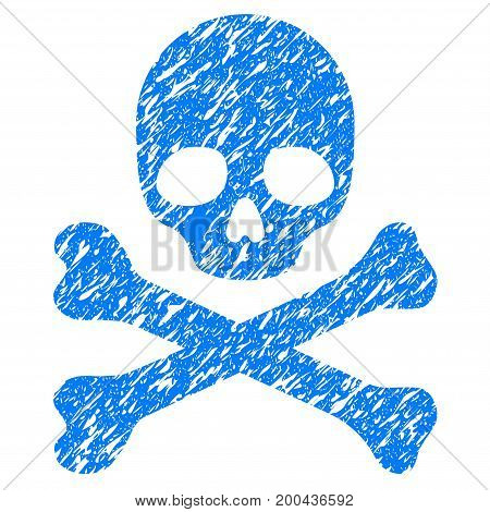Grunge Death icon with grunge design and dirty texture. Unclean vector blue pictogram for rubber seal stamp imitations and watermarks. Draft sign symbol.