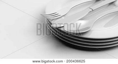 Stack Of Plates And Cutlery On White Background. 3D Illustration