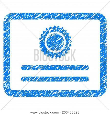 Grunge Diploma icon with grunge design and unclean texture. Unclean vector blue pictogram for rubber seal stamp imitations and watermarks. Draft sign symbol.