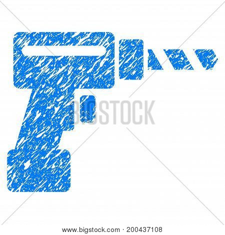Grunge Drill icon with grunge design and dirty texture. Unclean vector blue pictogram for rubber seal stamp imitations and watermarks. Draft sign symbol.