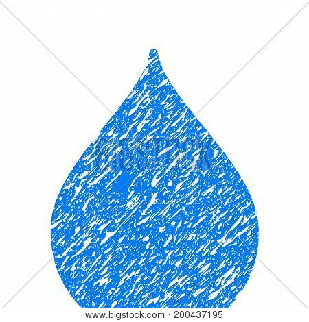 Grunge Drop icon with grunge design and dirty texture. Unclean vector blue pictogram for rubber seal stamp imitations and watermarks. Draft sticker symbol.
