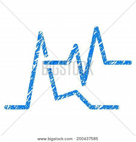 Grunge ECG icon with grunge design and scratched texture. Unclean vector blue pictogram for rubber seal stamp imitations and watermarks. Draft sign symbol.