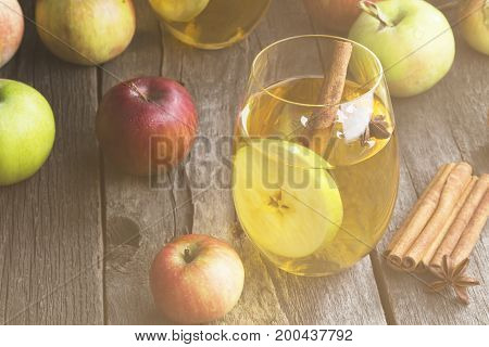 Apple Juice In Glass With Cinnamon And Anisetree On A Dark Wooden Background. Copy Space. Food Backg