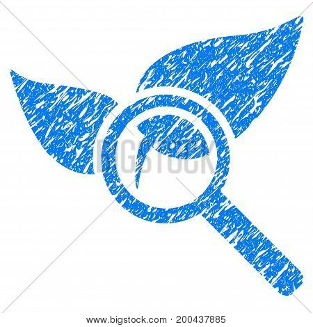 Grunge Explore Natural Drugs icon with grunge design and dust texture. Unclean vector blue pictogram for rubber seal stamp imitations and watermarks. Draft sticker symbol.