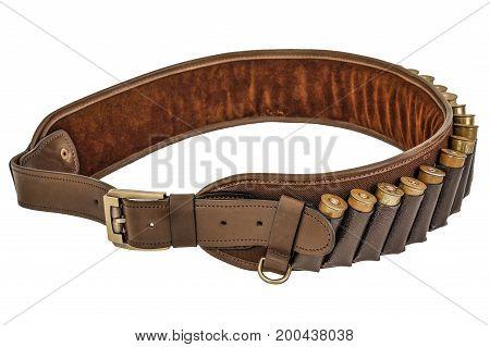 Hunter Rifle Ammo Ammunition Belt And Bandolier, Cartridges Inside. Isolated