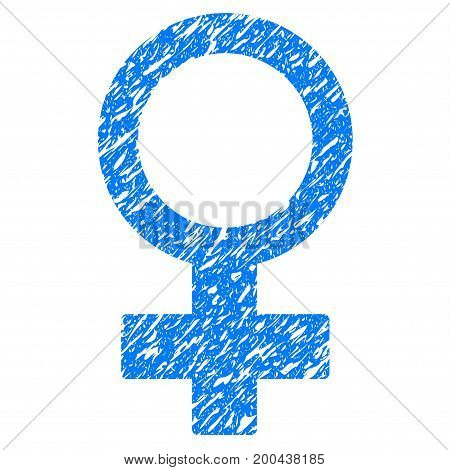 Grunge Female Symbol icon with grunge design and dirty texture. Unclean vector blue pictogram for rubber seal stamp imitations and watermarks. Draft sign symbol.