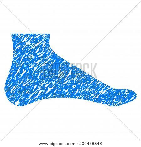 Grunge Foot icon with grunge design and unclean texture. Unclean vector blue pictogram for rubber seal stamp imitations and watermarks. Draft sign symbol.