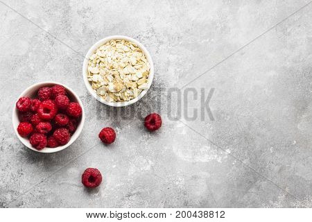 Glanola With Raspberry On A Gray Background. Top View, Copy Space. Food Background