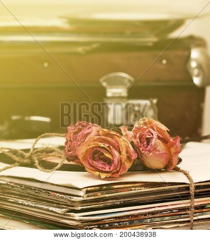 dry rose on a pile of old vinyl records in vintage style (Toning)