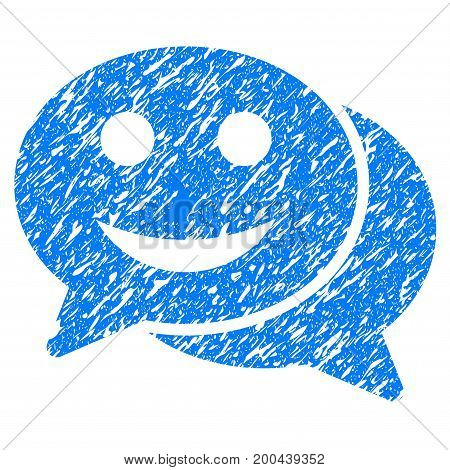 Grunge Happy Chat icon with grunge design and dirty texture. Unclean vector blue pictogram for rubber seal stamp imitations and watermarks. Draft emblem symbol.