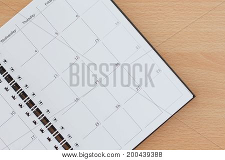 Calendar or Agenda on copy space background.