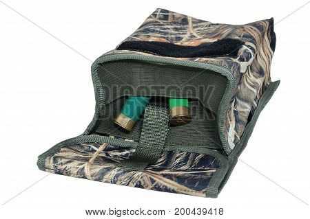 Hunting bag for reset cartridges, close-up, isolated background