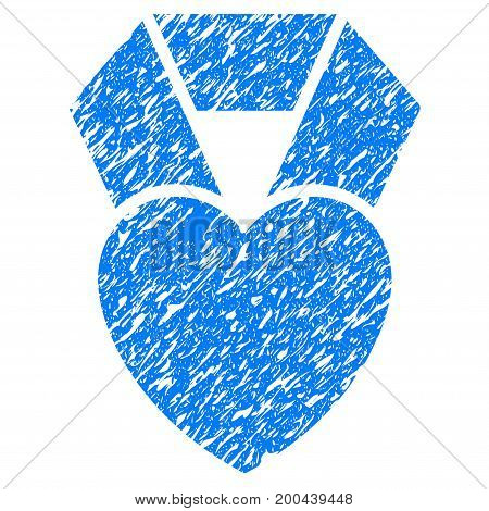Grunge Heart Award icon with grunge design and unclean texture. Unclean vector blue pictogram for rubber seal stamp imitations and watermarks. Draft sign symbol.