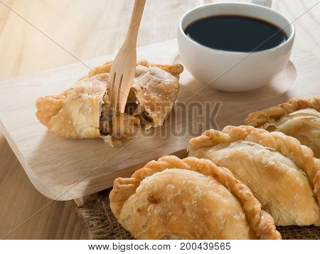 Group Of Curry Puff With Coffee.