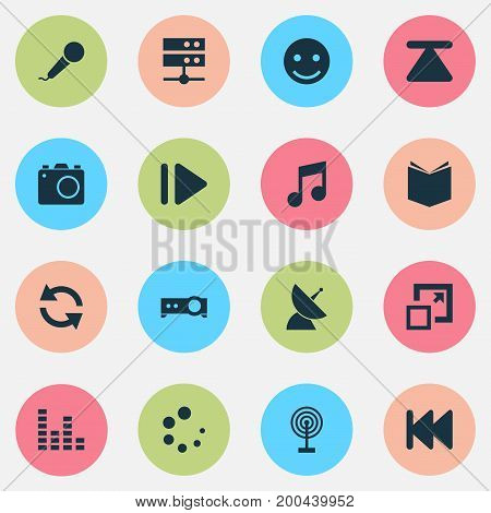 Music Icons Set. Collection Of Satellite, Equalizer, Datacenter And Other Elements