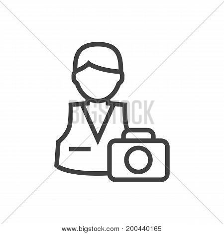 Vector Photographer Element In Trendy Style.  Isolated Cameraman Outline Symbol On Clean Background.