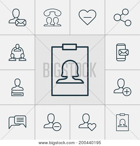 Network Icons Set. Collection Of Communication, Remove, Favorite Person And Other Elements