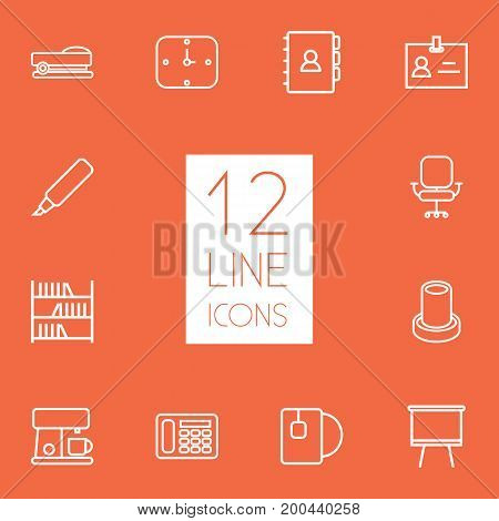 Collection Of Staple, Chair, Book And Other Elements.  Set Of 12 Workspace Outline Icons Set.