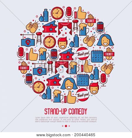 Stand up comedy show concept in circle with thin line icons. Vector illustration for banner, web page, print media.