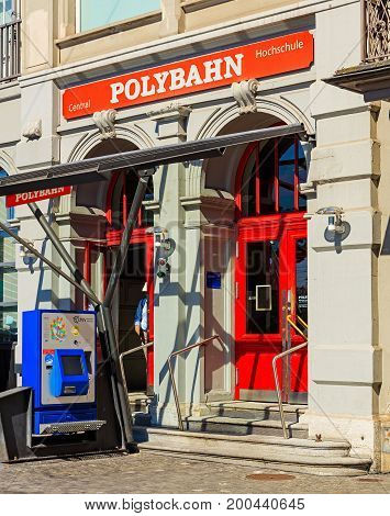 Zurich, Switzerland - 20 July, 2016: entrance to the station of the Polybahn on Central square. The Polybahn, also known as the UBS Polybahn, is a funicular railway in the city of Zurich.