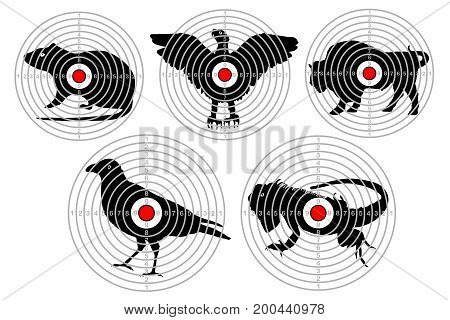 Targets for animal shooting. Training shoot hunting. vector set