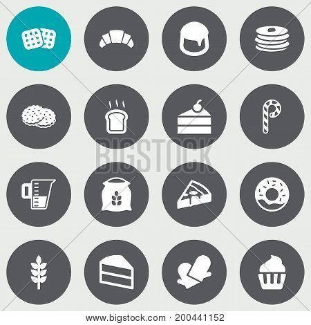 Collection Of Custard, Dessert, Slice Bread And Other Elements.  Set Of 16 Pastry Icons Set.