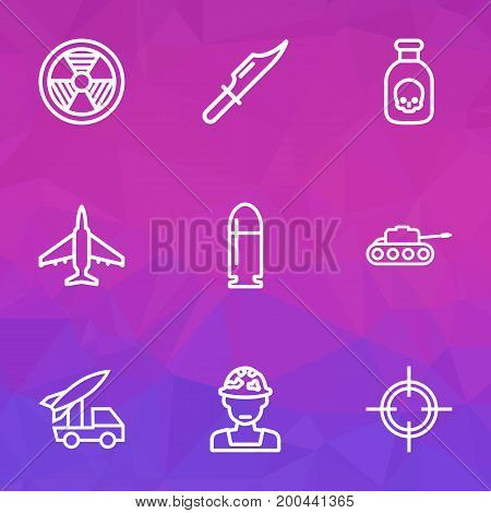 Combat Outline Icons Set. Collection Of Cutter, Panzer, Target And Other Elements