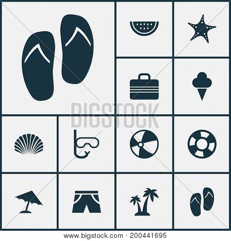 Season Icons Set. Collection Of Trees, Baggage, Lifesaver And Other Elements