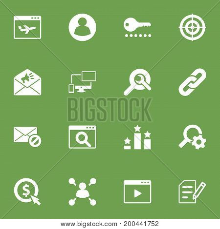 Collection Of Magnifier, Author Rights, Announcement And Other Elements.  Set Of 16 Search Icons Set.