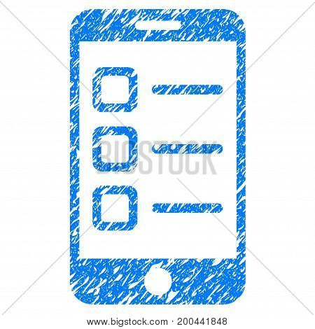 Grunge Mobile List icon with grunge design and unclean texture. Unclean vector blue pictogram for rubber seal stamp imitations and watermarks. Draft sign symbol.