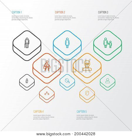 Person Outline Icons Set. Collection Of Profile, Social Relations, Head And Other Elements
