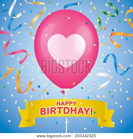 Birthday greeting card vector design. Heart printed pink ballon with yellow ribbon and colorfull confetti on a blue background.