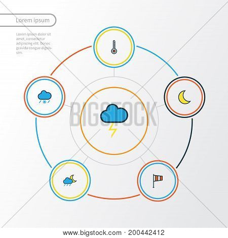 Weather Colorful Outline Icons Set. Collection Of Cloudburst, Flag, Scale And Other Elements