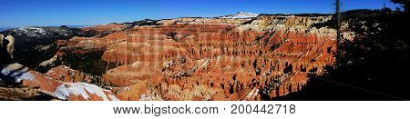 Winter panorama of Cedar Breaks National Monument in Utah