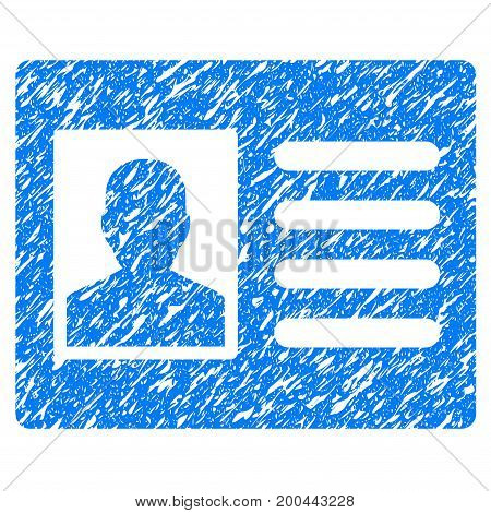Grunge Patient Account icon with grunge design and dirty texture. Unclean vector blue pictogram for rubber seal stamp imitations and watermarks. Draft sign symbol.