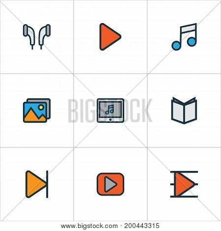 Multimedia Colorful Outline Icons Set. Collection Of Play, Finish, Begin And Other Elements
