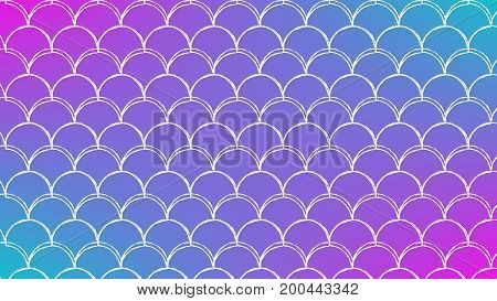 Mermaid scale on trendy gradient background. Horizontal backdrop with mermaid scale ornament. Bright color transitions. Fish tail banner and invitation. Underwater pattern. Blue, purple, pink colors.