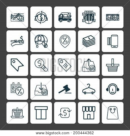 Commerce Icons Set. Collection Of Buck, Price Stamp, Box And Other Elements